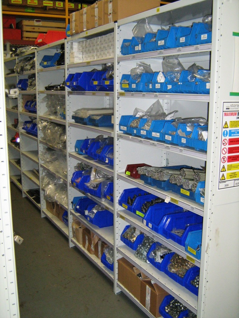 Stores Shelving with Containers