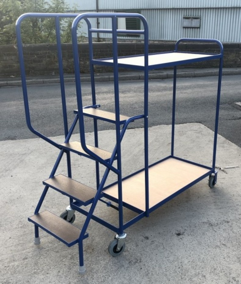 Warehouse Picking Trolley with Steps