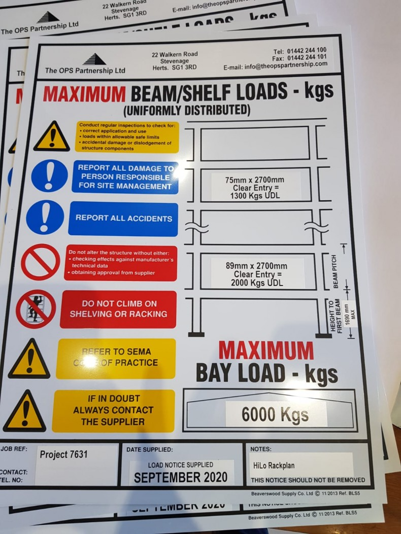 Load Notices for Pallet Racking