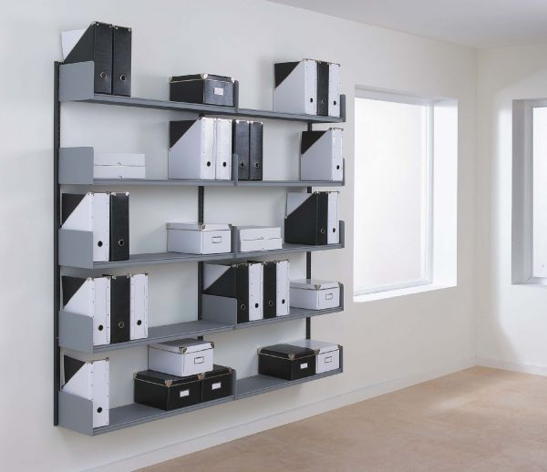 our spur type wall mounted office shelving provides easily to use